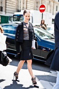 Vanessa Traina leaving the Dior Haute Couture Show in Paris.
