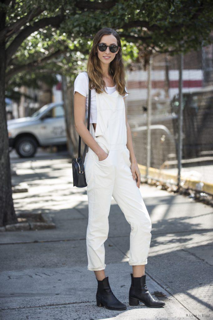 Alan Zimmer white leather overalls street style new york by sandra semburg
