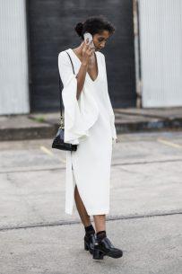 outside Ellery today – white dress
